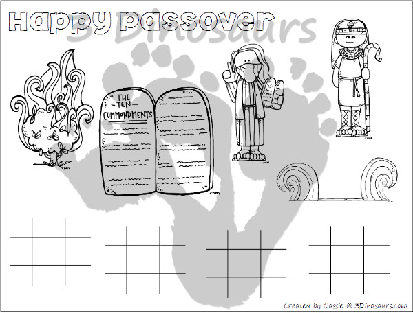 Free Passover Placemats - 4 different placemats to pick from - 3Dinosaurs.com