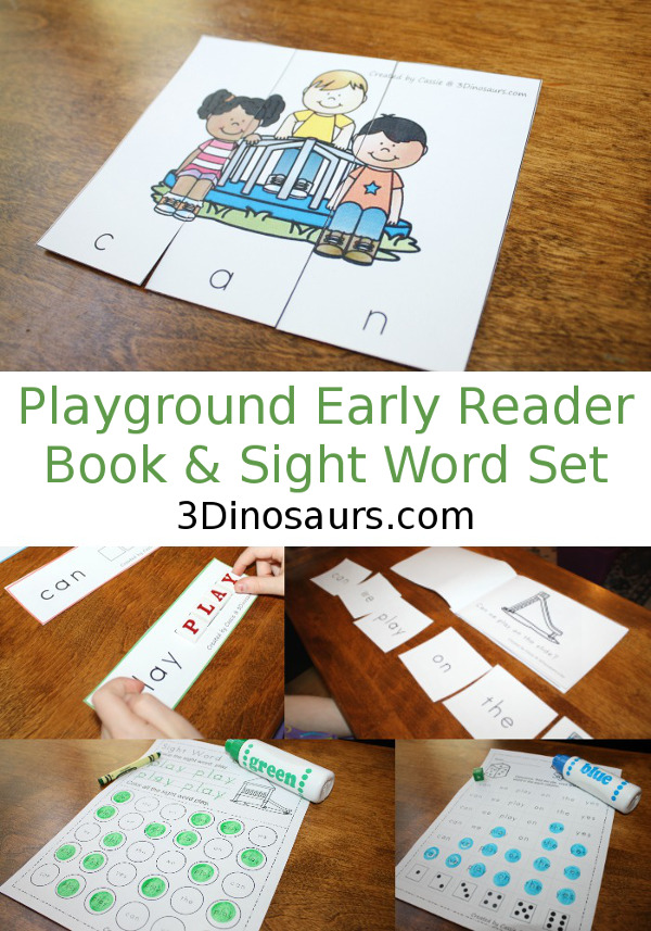 Playground Early Reader Book & Sight Word Set - 4 Readers with matching sight word activities for the books 92 pages of activities $ - 3Dinosaurs.com