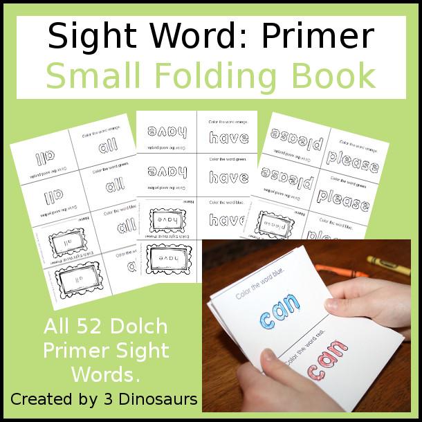 Sight Word Small Folding Books: Primer - 3Dinosaurs.com