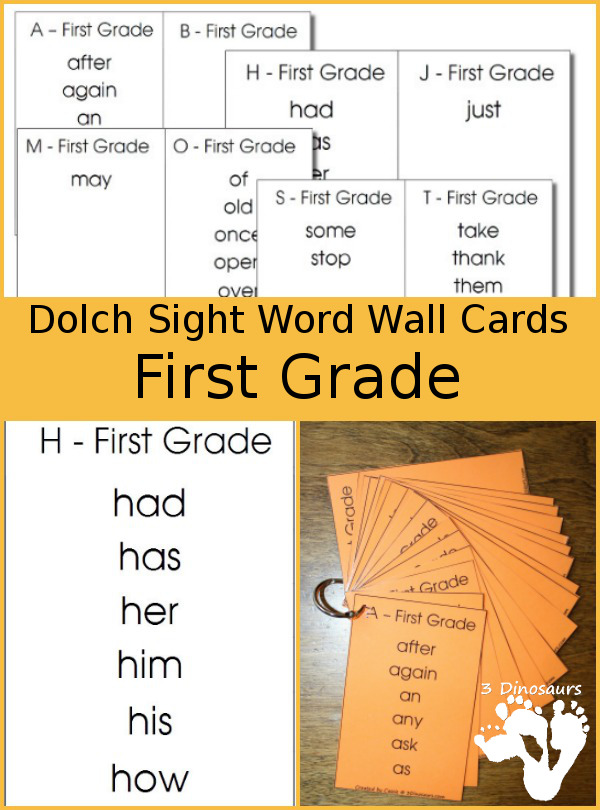 Free Dolch Sight Word First Grade Wall Cards - word sorted by letter - 3Dinosaurs.com