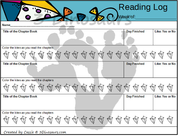 Free Spring Weekly Reading Charts Printable: Book Bag & Chapter books 4 different themes - 3Dinosaurs.com