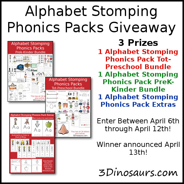 Alphabet Stomping Phonics Packs Giveaway - 3 Different  prizes to win - 3Dinosaurs.com