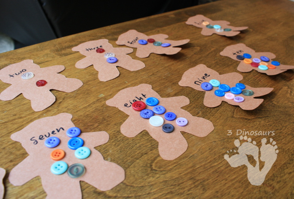 Teddy Bear Number Button Matching - hands on number activity to go with the book Corduroy - 3Dinosaurs.com