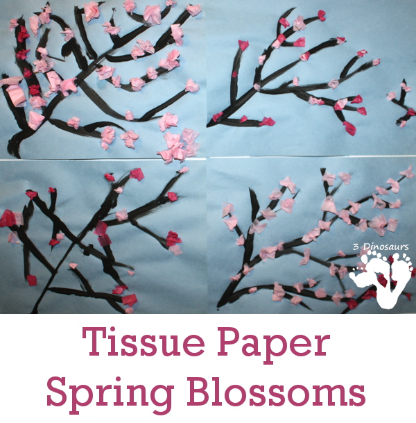 Tissue Paper Spring Blossoms - This is a fun spring craft that kids can do - 3Dinosaurs.com