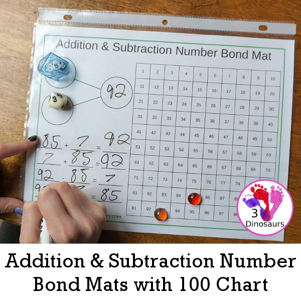 Addition & Subtraction Number Bond Mats with 100 Chart | 3 Dinosaurs