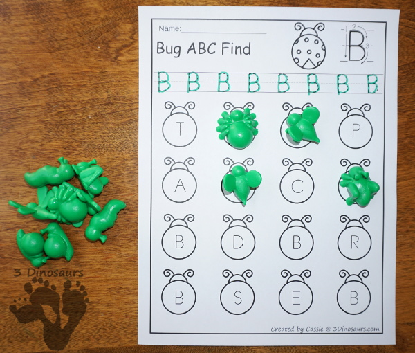 Easy No-Prep Bug ABC Find - easy no-prep printables with a fun bug theme 52 pages with uppercase and lowercase $ - 3Dinosaurs.com