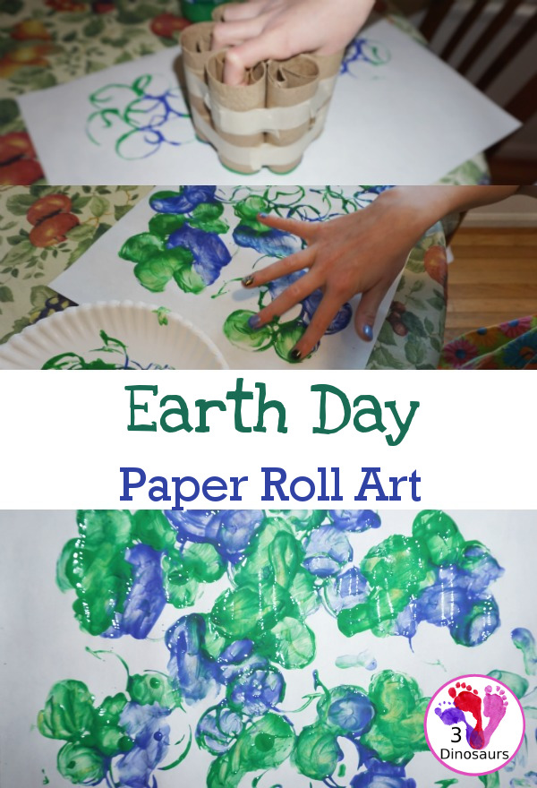 Paper Roll Stamped Earth for Earth Day - fun process art projects that kids can do with paper rolls - 3Dinosaurs.com