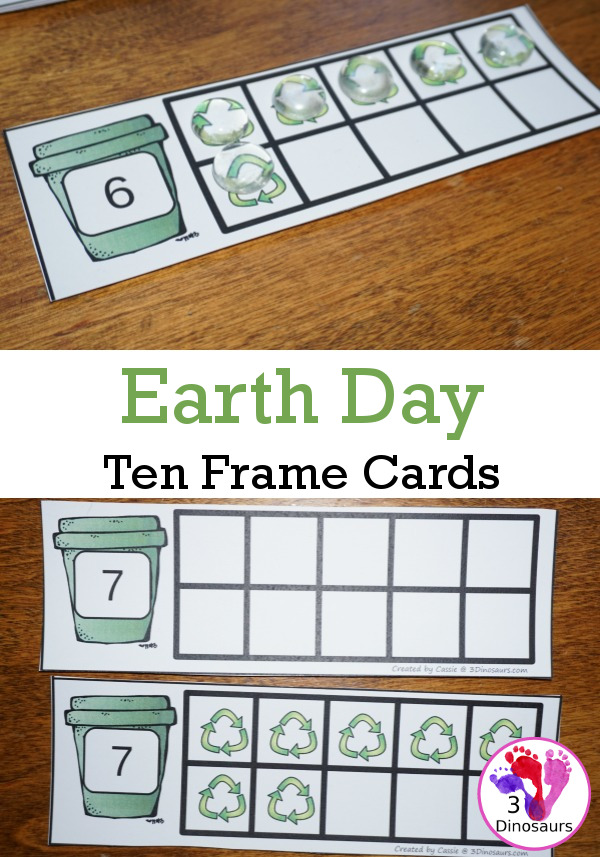 Free Earth Day Ten Frame Cards - two different types of cards to use - 3Dinosaurs.com