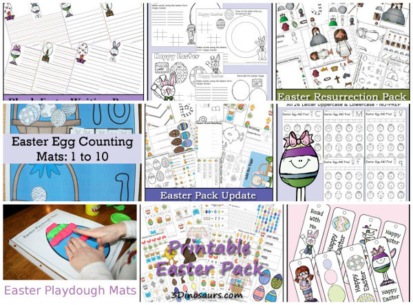 20+ Easter Activities and Printables - collection of themed packs, numbers, math, crafts, printables, and more - 3Dinosaurs.com
