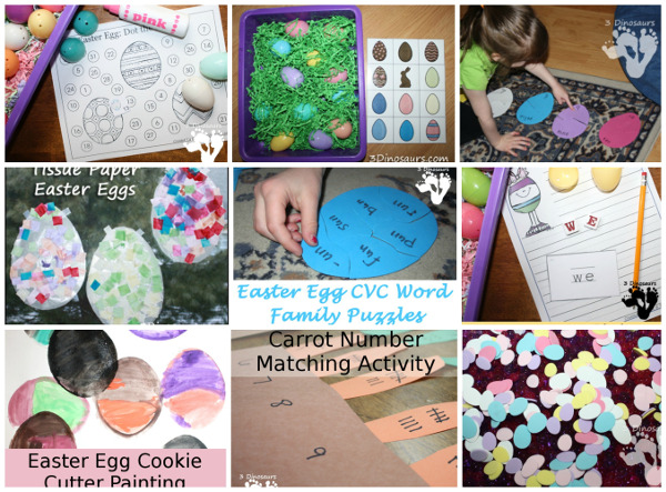 39+ Easter Activities and Printables - collection of themed packs, numbers, math, crafts, printables, and more - 3Dinosaurs.com