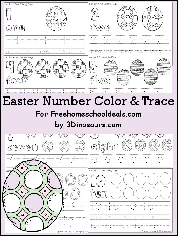 Free Easter Egg Themed Number Color & Trace - Numbers 1 to 10 - 3Dinosaurs.com