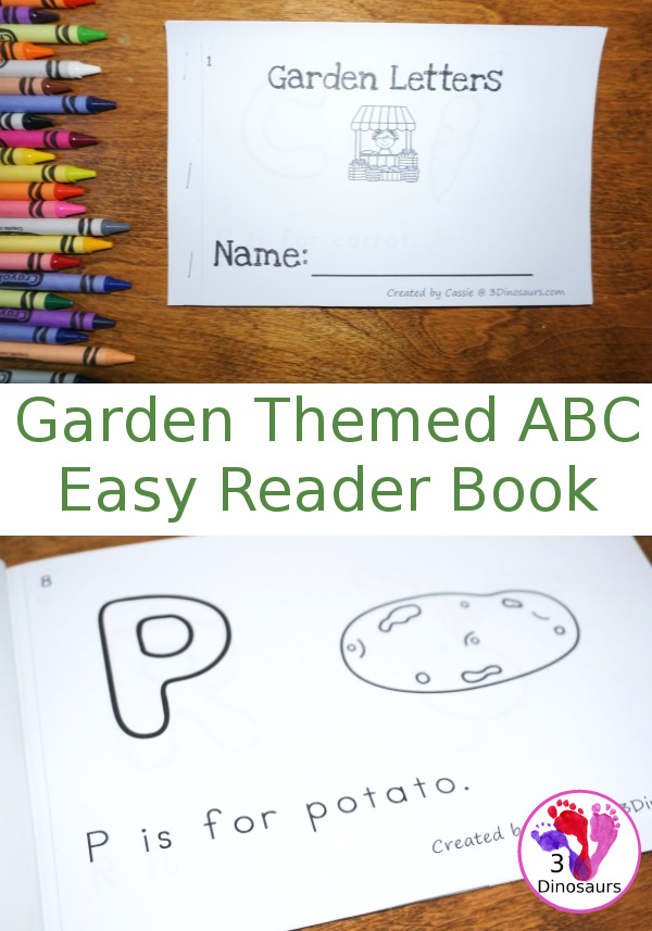 Free Garden Themed ABC Easy Reader Book -  with 10 pages and a veggie theme - 3Dinosaurs.com