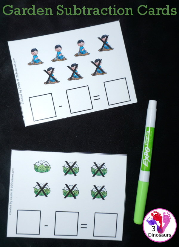 Free Garden Themed Subtraction Cards For Math Centers - 4 pages of printables with subtraction cards kids can write the equation on - 3Dinosaurs.com