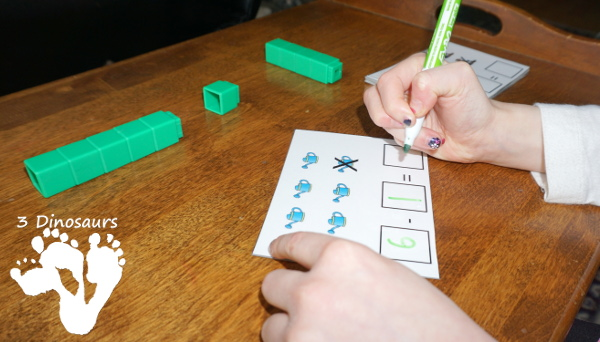 Free Garden Themed Subtraction Cards For Math Centers - 4 pages of printables - 3Dinosaurs.com