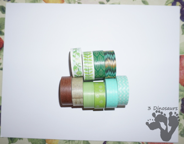 Fun to Make Washi Tape Green Trees For Earth Day - easy fine motor craft for Earth Day using Washi Tape - 3Dinosaurs.com