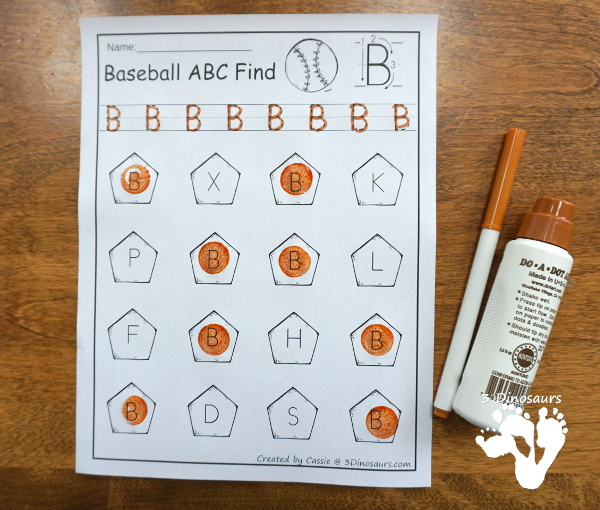 ABC Themed Baseball finds with all 26 letters in uppercase or lowercase - 3Dinosaurs.com
