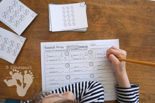 Free Fun To Use Baseball Themed Array Task Cards - 12 task cards with 3 different matching worksheets to use with the cards - 3Dinosaurs.com
