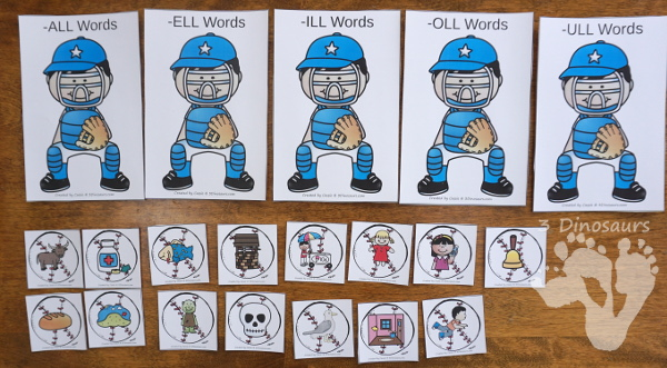 Free Fun Hands-On Baseball Double LL Sorting - 15 cards to sort with recording worksheet for kids to learn double LL ending words - 3Dinosaurs.com