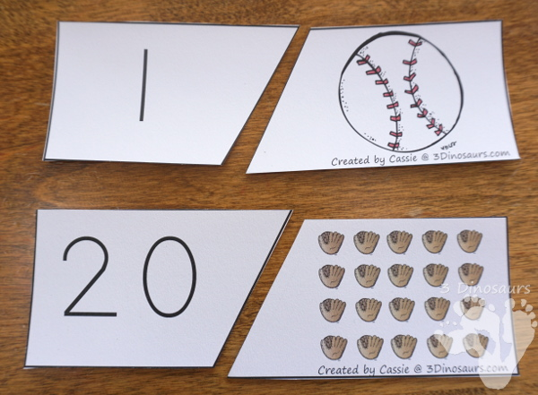 Free Hands-On Counting With Baseball Number Matching Puzzles - 2 piece puzzles with numbers 1 to 20 matching puzzles  - 3Dinosaurs.com