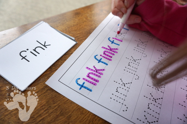 Free CVCC Word Family Cards & Writing - ANK, INK, ONK, UNK - 3Dinosaurs.com