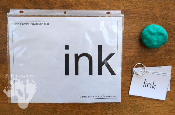 Free CVCC Word Family Playdough Mats: ANK, INK, ONK, UNK - 3Dinosaurs.com