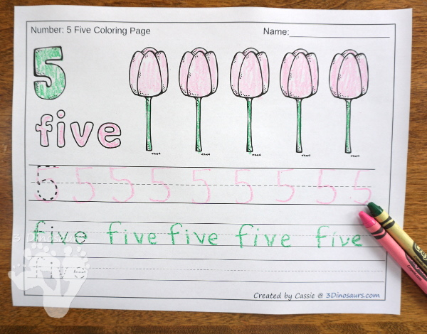 No-Prep Earth Day Themed Number Color and Trace - easy no-prep printables with three fun Earth Day themes: Earth Day, flowers and garden 44 pages for each set with two options for the numbers tracing or writing $ - 3Dinosaurs.com #noprepprintable #earthday #numbersforkids