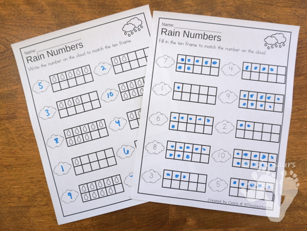 Flower & Rain Themed Ten Frame Printables: No-Prep & Hands-On - 168 pages of printables working on ten frame activities for numbers 1 to 20 with hands-on and no-prep: cards, worksheets and easy reader books - 3Dinosaurs.com #handsonmath #teacherspayteachers #tenframe #springprintablesforkids #printablesforkids