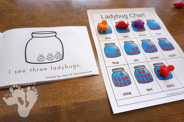 Free Ladybug Number Counting Book & Chart - numbers 0 to 10 with matching number chart - 3Dinosaurs.com