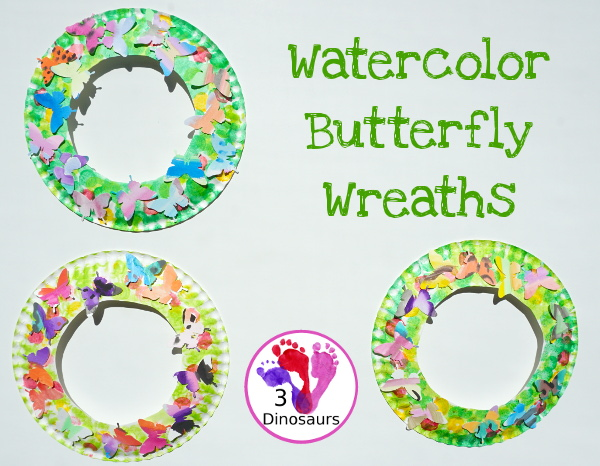 Fun To Make Watercolor Butterfly Wreaths - fun painting and craft activity with a butterfly theme - 3Dinosaurs.com