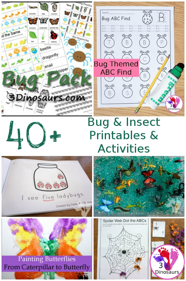 40+ Bug & Insect printables, activities, craft, books and more - 3Dinosaurs.com