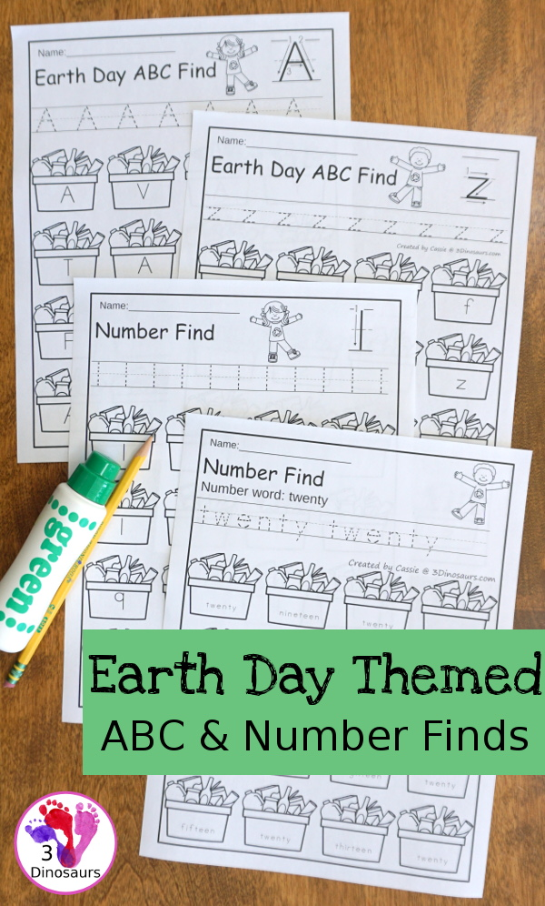Earth Day ABC & Number Find - easy to use no-prep printables that work on all 26 letters of the alphabet and nubmers 1 to 20 $ - 3Dinosaurs.com