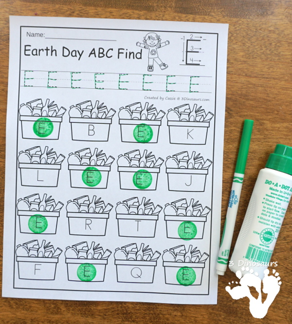 Earth Day ABC & Number Find - easy to use no-prep printables that work on all letters of the alphabet and nubmers 1 to 20 $ - 3Dinosaurs.com