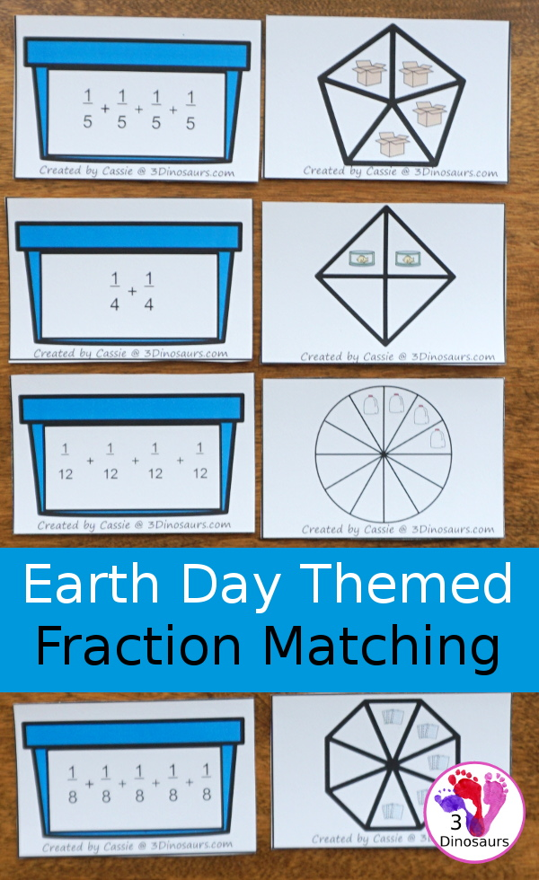 Free Recycling Earth Day Themed Fraction Matching Cards With Help Mat - 8 sets of cards to match with a help mat for adding the fractions together - 3Dinosaurs.com