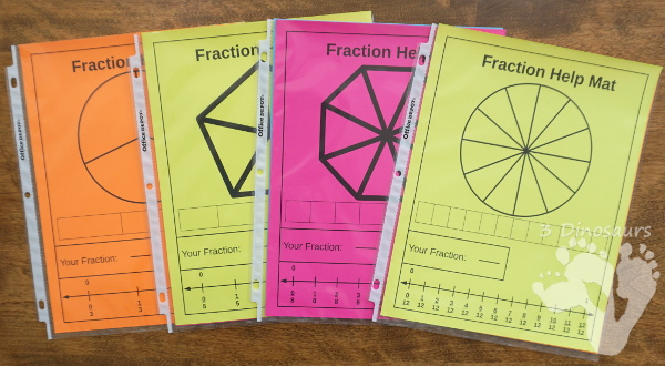 Free Easy To Use Math Help: Fraction Help Mats - 8 mats to use with learning about fractions - 3Dinosaurs.com