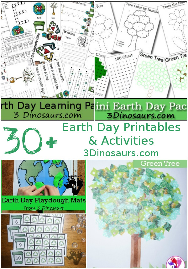 30+ Earth Day Printables & Activities on 3 Dinosaurs - abc, numbers, themed packs, crafts, painting and hands-on activities and more- 3Dinosaurs.com