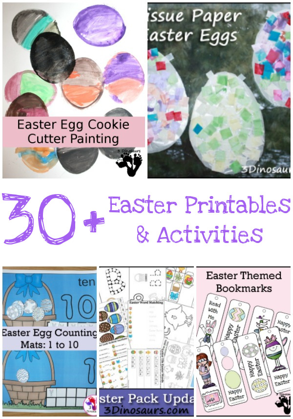 30+ Easter Activities and Printables - collection of themed packs, numbers, math, crafts, printables, and more - 3Dinosaurs.com