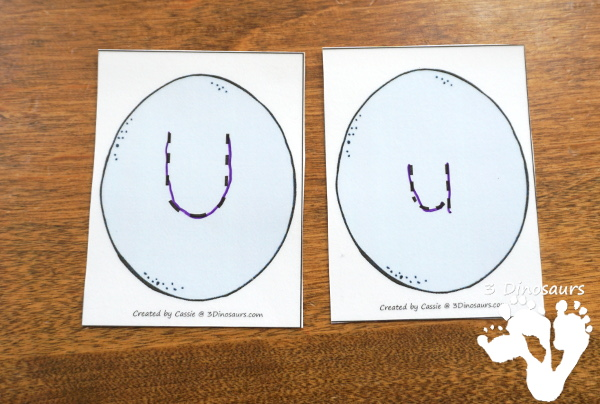 Free Easter Egg ABC Tracing & Matching: Print & Cursive - all 26 letters with uppercase and lowercase cards in print and cursive for different levels of learning fun. It also included tracing options - 3Dinosaurs.com
