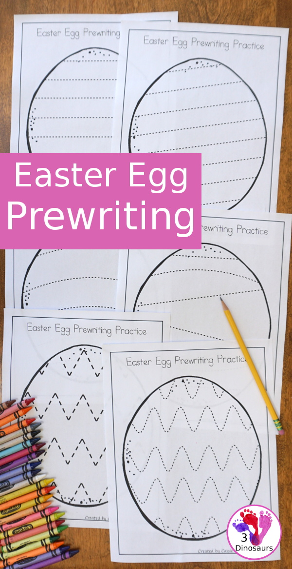 Free Easter Egg Theme Prewriting - 8 fun pages with an Easter egg theme for kids to trace and have fun doing fine motor with - 3Dinosaurs.com
