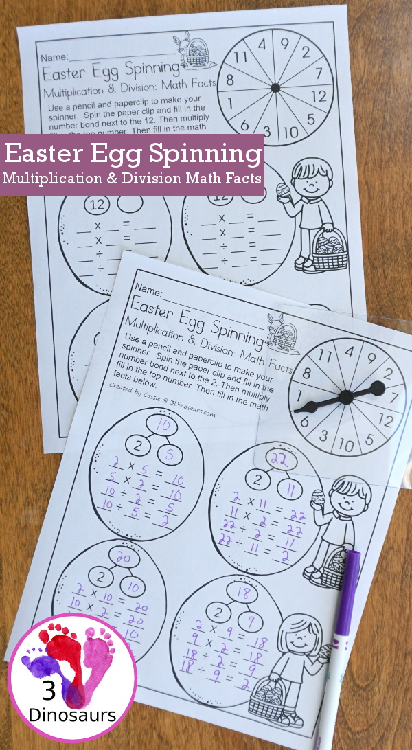Free Easter Egg Spinning Multiplication & Division Math Facts - math facts 2 to 12 with 4 recording sheets per page with spinner - 3Dinosaurs.com