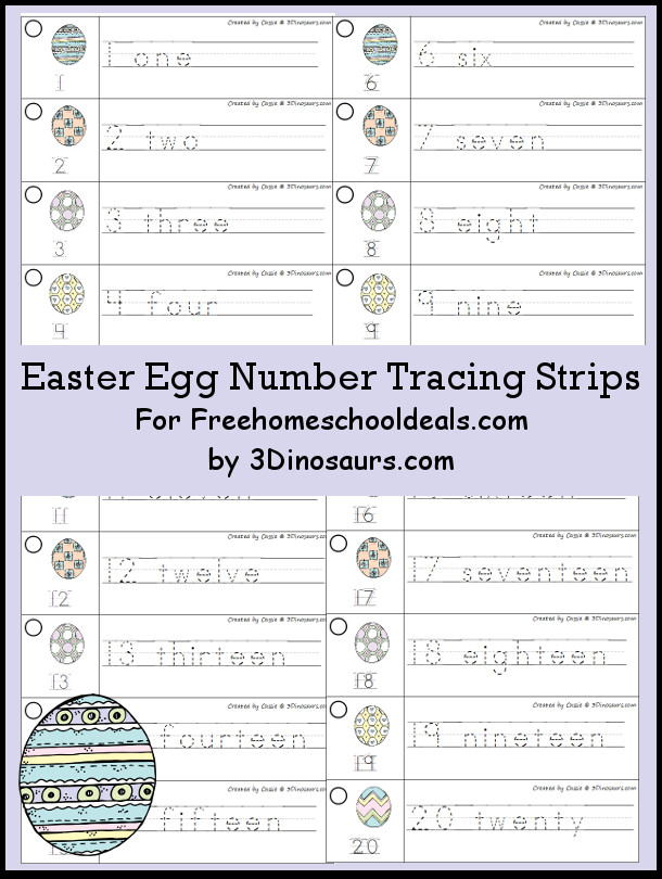 Free Easter Egg Theme Number Tracing Strips - with numbers 1 to 20 - 3Dinosaurs.com