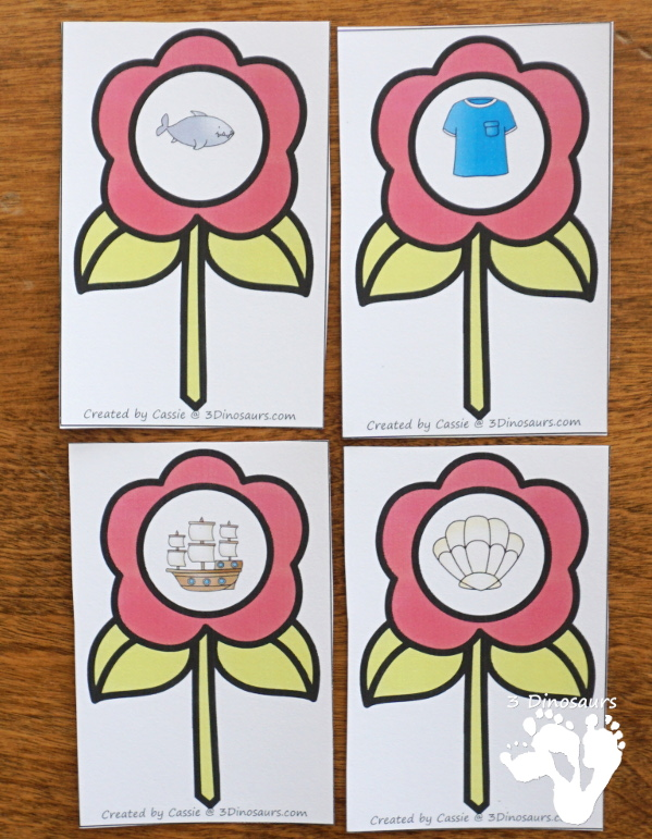 Free Flower Digraph Sorting & Worksheets - 4 beginning digraphs ch, sh, th, wh with worksheets for writing words or tracing words - 3Dinosaurs.com