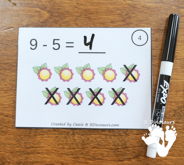 Free Flower Subtraction Task Cards - 12 cards done two different ways with a recording sheet - 3Dinosaurs.com