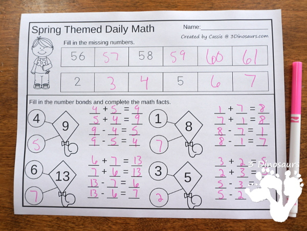 No-Prep Spring No-Prep Math: Addition & Subtraction - 30 pages in each set with review sheets at the end all in a spring theme with no cutting or prep work needed - 3Dinosaurs.com