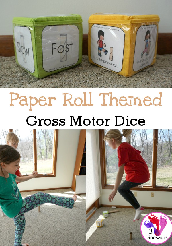 Free Paper Roll Themed Gross Motor Dice -  3 action movements included with dice and dice inserts - 3Dinosaurs.com
