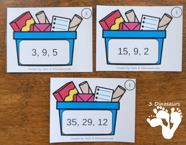 Free Recycling Themed Number Order Task Cards - 3 levels of learning with 3 sets of task card and worksheet to have kids put the numbers in order - 3Dinosaurs.com