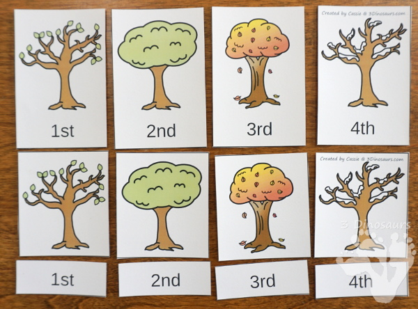 Sequencing: Seasons of a Tree with clip cards, task cards, no-prep worksheets and easy reader books $ - 3Dinosaurs.com #printablesforkids #sequencingforkids #earthday #fourseasons #tpt #teacherspayteachers