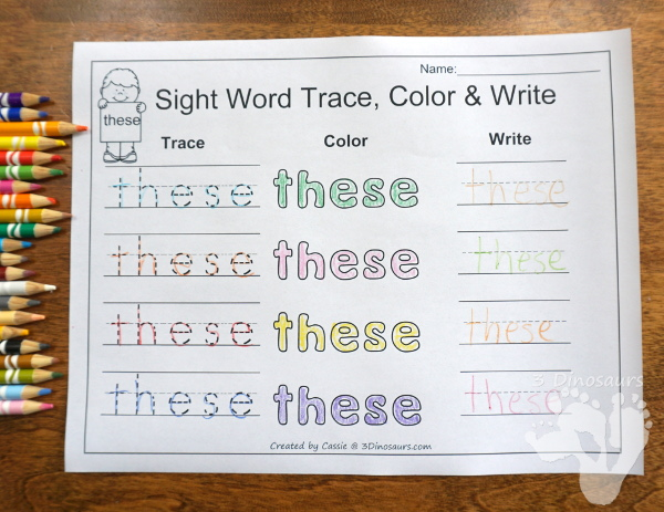 Free Romping & Roaring Second Grade Sight Words: these, those, upon, us 6 pages of printables for each word - 3Dinosaurs.com