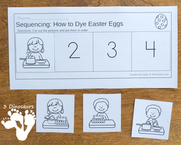 Sequencing: How to Dye Easter Eggs with clip cards, task cards, no-prep worksheets and easy reader books $ - 3Dinosaurs.com #printablesforkids #sequencingforkids #easter #springprintables #tpt #teacherspayteachers