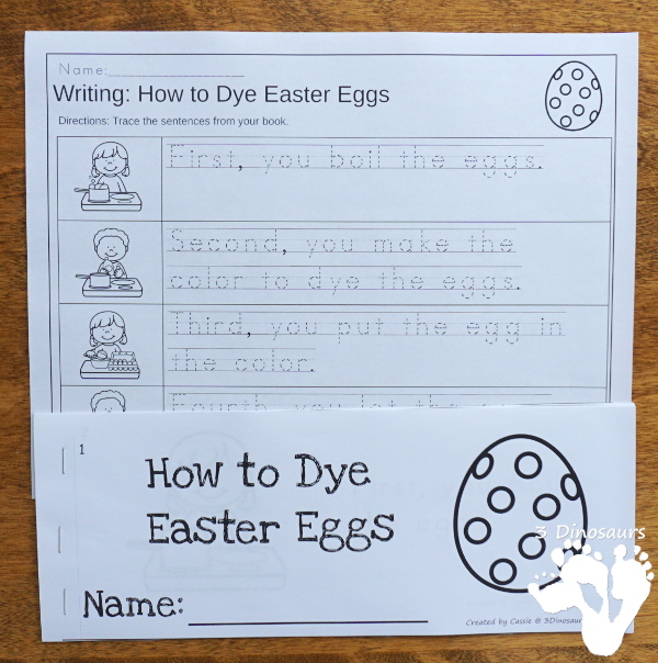 Sequencing: How to Dye Easter Eggs with clip cards, task cards, no-prep worksheets and easy reader books $ - 3Dinosaurs.com #printablesforkids #sequencingforkids #easter #springprintables #tpt #teacherspayteachers - 3Dinosaurs.com