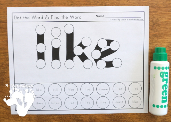 Sight Word Dot the Word Find the Word - All 220 Dolch Sight Words in a dot the sight word and then find the sight word in a no-prep printable - 3Dinosaurs.com